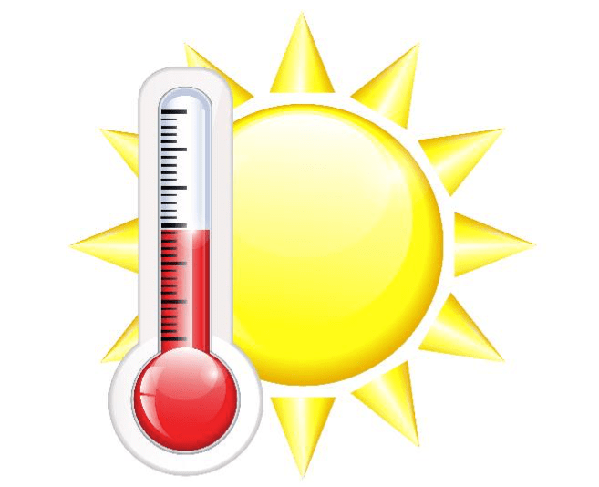 Drawing of a sun and a thermometer to indicate hot temperature