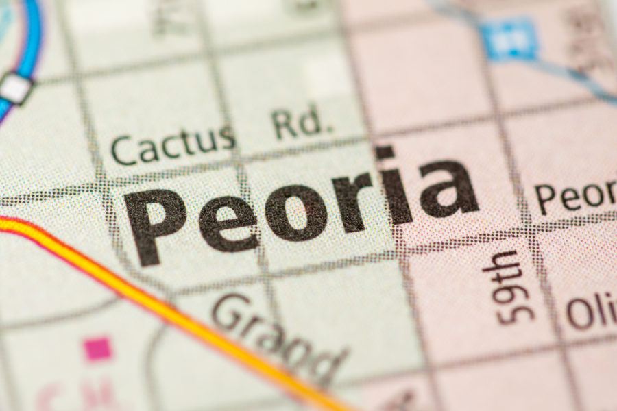 color map of arizona, zoomed in on Peoria city