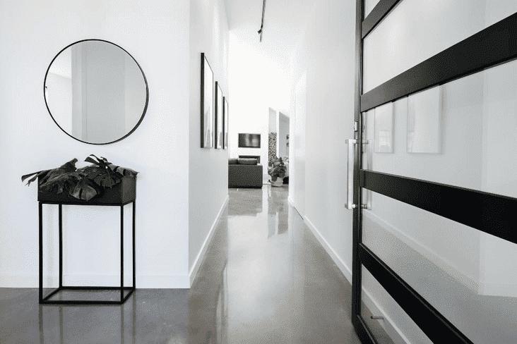 A spacious, clean hallway in a home