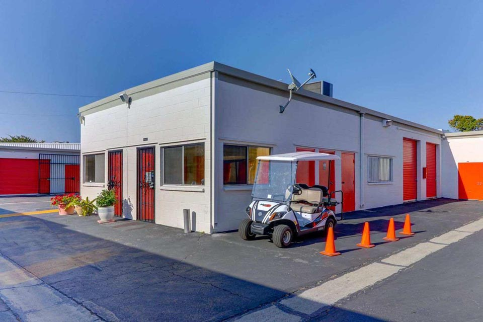 Self Storage Office with Goflcart parked out front
